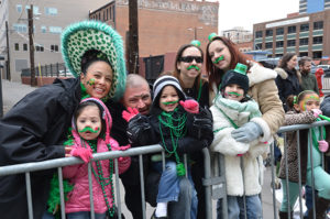 Revelers at the St. Patrick's Day Parade in downtown Denver.