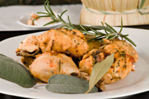 Pollo alla cacciatora - Chicken, stewed in tomato, wine & herb