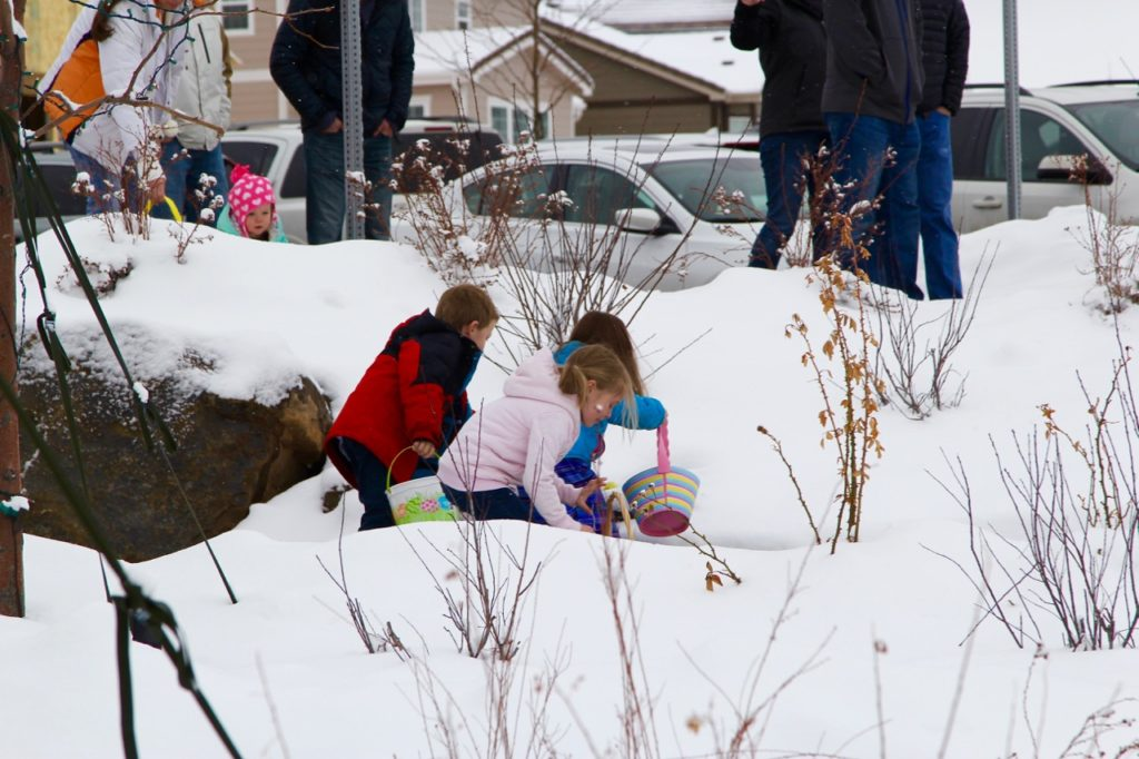 Outdoor Easter egg hunt in snow 2016