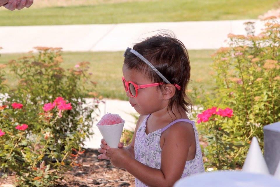 little girl pink glasses