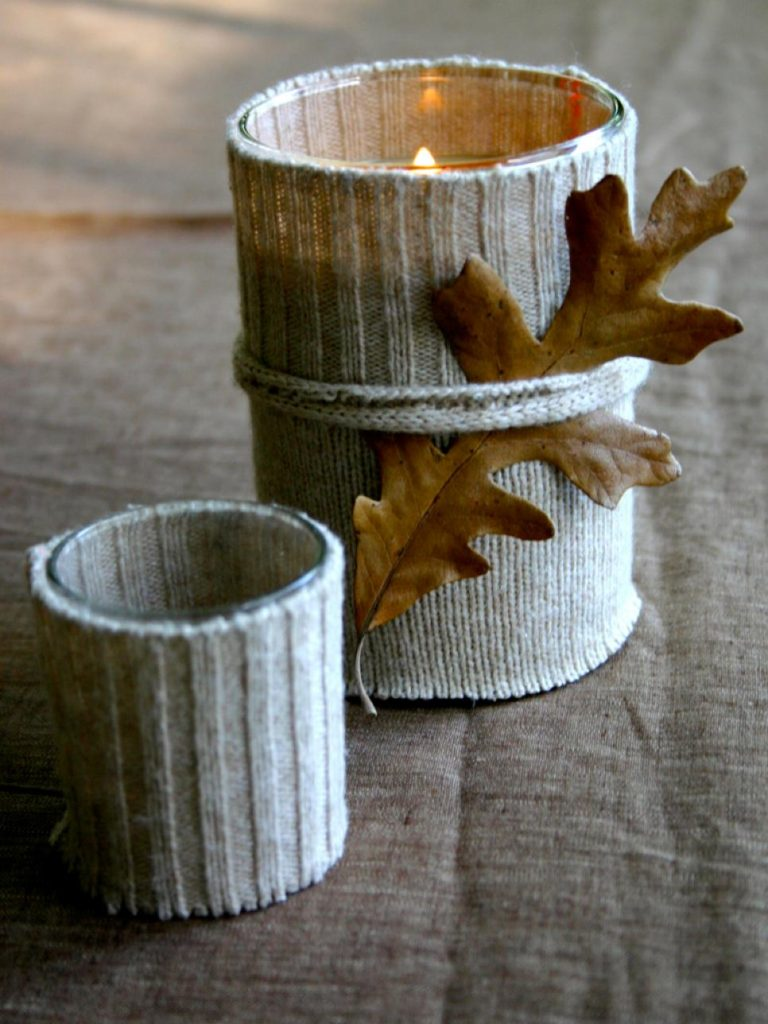 candle in sweater
