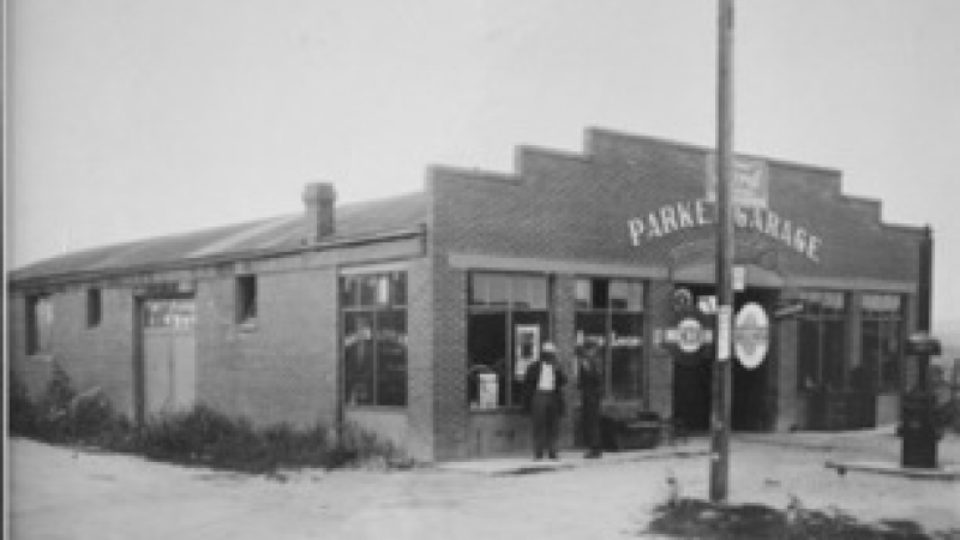 The Parker Garage when it was an autobody shop