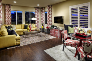 A fun and colorful family room in one of the model homes