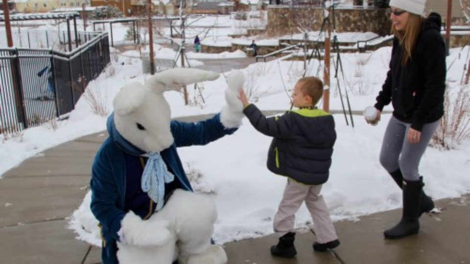 Stepping Stone Easter Bunny high five