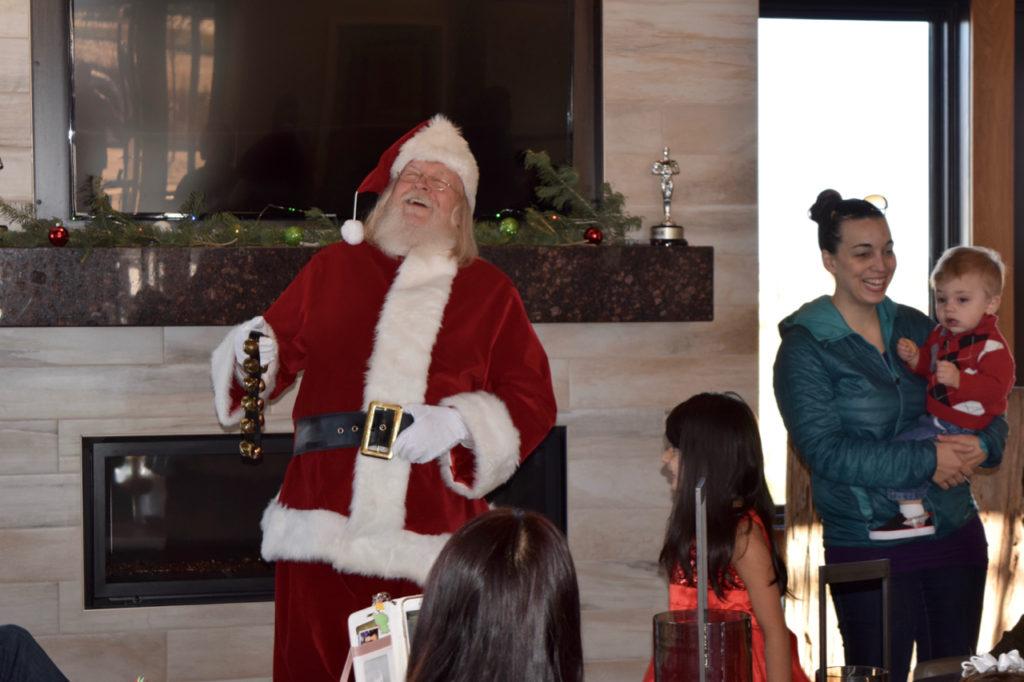 Greeting Santa at Stepping Stone