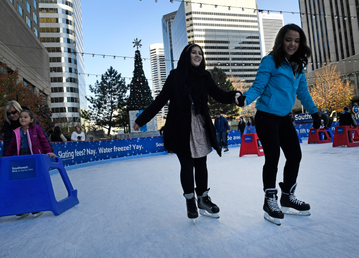 DENVER, COLORADO - NOVEMBER 23: Kids of all ages enjoy skating at the Southwest Rink at Skyline Rink on November 23, 2016 in Denver, Colorado. The rink will be open seven days a week Ñ including Thanksgiving and Christmas Ñ through Feb. 14 and is free to the public. There is a $2 fee for skate rentals. Hours for the rink will vary throughout the season. (Photo by Helen H. Richardson/The Denver Post)